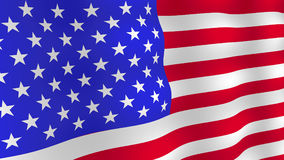 Bright USA flag background. Realistic fluttering flag with shadows. Vector, eps 10 royalty free illustration
