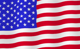 Bright USA flag background. Realistic fluttering flag with shadows. Vector, eps 10 stock illustration