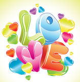 Bright Valentine background with 3d love. And glossy hearts Stock Photo