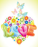 Bright Valentine floral background. With butterfly Stock Photos