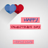Bright 2015 Valentine s day card. With long shadow. Hipster hearts design. Unusual lovely style. With heart and text. Can be used as poster, banner. Vector Vector Illustration