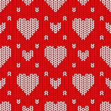 Bright Valentine's Day knitted seamless pattern Stock Photography