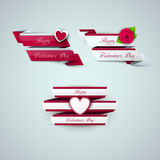 Bright Valentine`s day ribbons Royalty Free Stock Photo