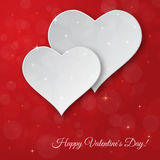 Bright Valentine`s day vector  background. Sparkling paper heart Stock Photo