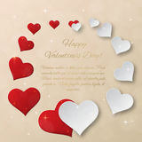 Bright Valentine`s day vector  background. Sparkling paper heart Stock Photography