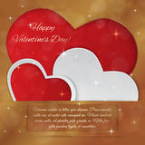 Bright Valentine`s day vector  background. Sparkling paper heart Royalty Free Stock Images