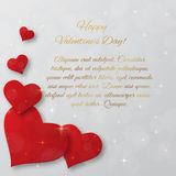 Bright Valentine`s day vector  background. Sparkling paper heart Royalty Free Stock Photography