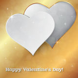 Bright Valentine`s day vector  background. Sparkling paper heart Stock Image