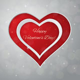 Bright Valentine`s day vector  background. Sparkling paper heart Royalty Free Stock Photo