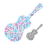Bright vector acoustic guitar filled with musical notes Royalty Free Stock Images