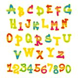 Bright vector alphabet and numbers Stock Images