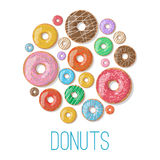 Bright vector banners with donuts illustration isolated on the white background. Doughnut banner in cartoon style Stock Photos