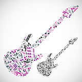 Bright vector bass guitar filled with musical notes, light decor Stock Photography