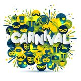 Bright vector carnival and sign Carnival illustration on multicolors icons. Carnival, spring, text of paper style. Bright vector carnival and sign Carnival Stock Photos