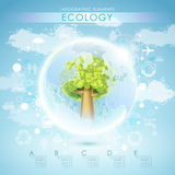 Bright vector ecology template with tree and earth Stock Photo