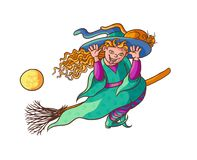 Bright vector happy girl witch on broom with cat. Illustration cheerful, humorous young magician and pet to all saints Stock Images