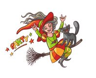 Bright vector happy girl witch on broom with cat. Illustration cheerful, humorous young magician and pet to all saints Royalty Free Stock Photo
