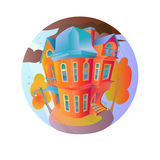 Bright vector house in the autumn weather. Cottage in a Victorian style. home with balcony, porch and shop, showcase Stock Photography