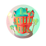 Bright vector house in the springtime. Cottage in a Victorian style. home with balcony, porch and shop, showcase, canopy. Bright vector house in the springtime Stock Photos