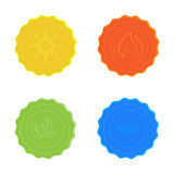 Bright vector icons water, sun, fire, leaves, yellow, blue, red and green. Vector multicolored icons with the image of the elements: fire water sun leaves Stock Photos
