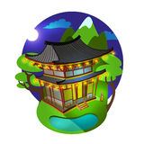 Bright vector illustration. Asian traditional architecture at moonlit night. The building is in the mountains and lakes. Last minute chinese lanterns under the stock illustration