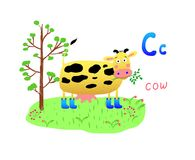 Bright Vector illustration with cow mowing grass, tree and letter C Alphabet C, poster, banner, logo, greeting card, cartoon chara stock illustration