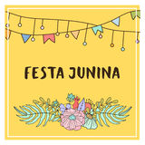 Bright vector illustration for the Festa Junina Brazil Festival. Folklore holiday. nFesta Junina - June party Royalty Free Stock Photo