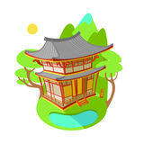 Bright vector illustration flat. Asian traditional architecture. The building is in the mountains and lakes.  vector illustration