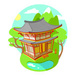 Bright vector illustration flat. Asian traditional architecture. The building is in the mountains and lakes. Sunny. Summer weather vector illustration