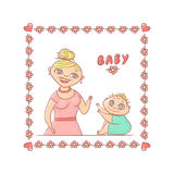 Bright vector illustration isolated on white background. A young mother or nanny smiling little curly child with big eyes. Cute sq Stock Photo