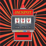 Bright vector illustration on jackpot theme. Red slot machine with three sevens on abstract striped background. Bright vector illustration on jackpot theme. Red Stock Photo