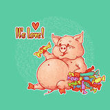 Bright vector illustration with lettering. Happy plump pink pig eats a lot of delicious chocolates and candies. Piggy likes sweets. Contour picture with grunge vector illustration