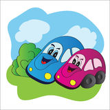 Bright vector illustration love cars Stock Photos