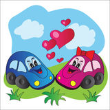 Bright vector illustration love cars Stock Photos