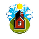 Bright vector illustration of simple country house on sunrise ba Stock Photography