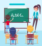 Lesson in Classroom Colorful Vector Illustration Stock Images