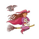 Bright vector pretty good girl witch on broom with white cat. Illustration humorous young magician and pet to all saints Royalty Free Stock Image