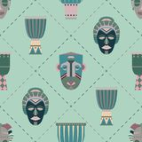 Bright vector seamless pattern with african masks. And drums vector illustration