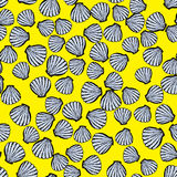 Bright vector seamless pattern with seashells. Vector seamless pattern with seashells. Sketch decorated elements bright yellow background will be a good summer Royalty Free Stock Images