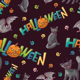 Bright vector seamless pattern to all saints day. Children celebration Halloween. Funny black cats funny flying mouse. A Royalty Free Stock Image