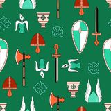 Bright vector seamless pattern about vikings life.  Stock Photos