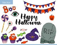 Bright vector set of elements for halloween royalty free illustration