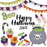Vector set of halloween elements royalty free illustration