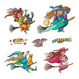 Bright vector set girls witches on broom with cats. Illustration cheerful, humorous young magician and pet to all saints Stock Photo