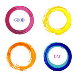 Bright vector set with rainbow inked circle for Stock Photo