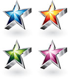 Bright Vector Stars in Four Colors Stock Photo