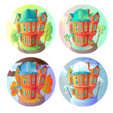 Bright vector volume icons of old houses in Victorian style.  in cartoon child. Seasons. Summer, spring, winter Stock Images