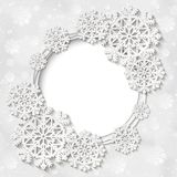 Bright vector white winter round frame with snowflake decoration stock illustration