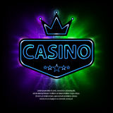 Bright vegas casino banner with neon frame and abstract gambling background. Casino frame neon bright banner. Vector. Illustration EPS 10 Royalty Free Stock Images