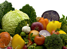 Bright vegetables. Juicy lemons, tomatoes, pepper, broccoli, onions, cabbage Royalty Free Stock Photos